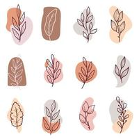 Hand drawn floral retro leaves set vector