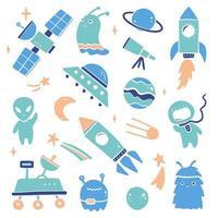 Cute cartoon Space set vector