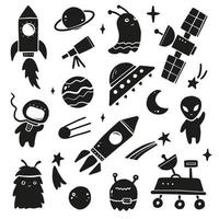 Cute cartoon Space set with object vector