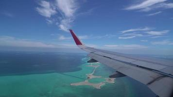 beautiful sea with Maldives Island view from airplane video