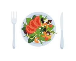 Shrimp salad, mixed. Healthy concept. vector