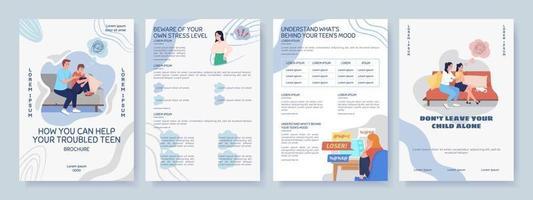 Help for depressed teen flat vector brochure template