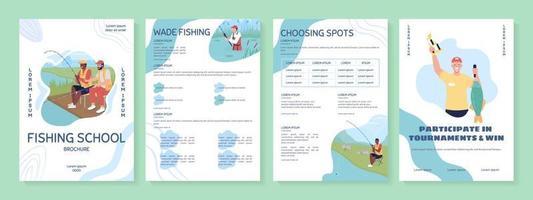 Fishing school flat vector brochure template