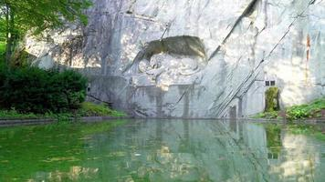 Dying lion monument landmark in Lucern City, Switzerland video