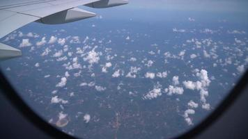 airplane wing with beautiful background view from airplane window video