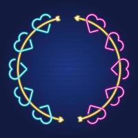 love heart arrow circle frame vector