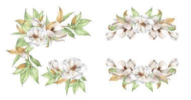 Set of the floral arrangements. Watercolor floral illustration. vector