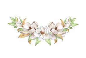 Watercolor floral composition. Magnolia, A tender bouquet. vector