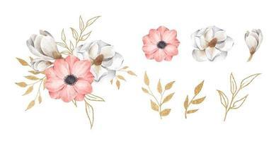 Set of floral branch. Watercolor floral illustration. vector