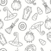 Seamless pattern with Halloween icons in sketch style. vector
