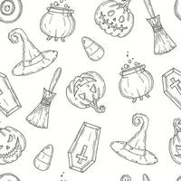 Seamless pattern with Halloween icons vector