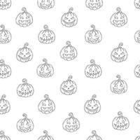 Seamless pattern with Halloween  Pumpkin Jack in sketch style vector