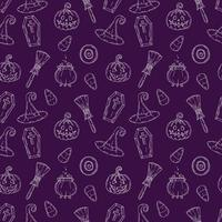 Seamless pattern with Halloween icons. vector