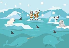 Cartoon North pole Arctic landscape background vector