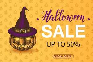 Halloween Sale poster with lettering on orange pattern vector
