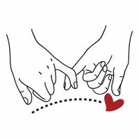 Pinky Promise  outline with red heart sign vector