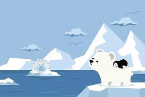 polar bear with little penguin North pole Arctic vector