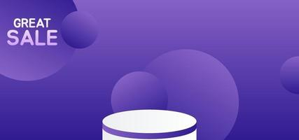 round white podium on purple circular background for sale product vector