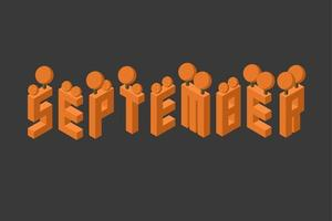 september month autumn greeting text. isometric 2.5D illustration vector