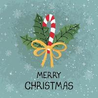 Greeting card with colorful hand draw illustration of christmas cane vector