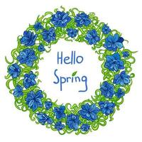 Colorful illustration of spring flower wreath isolated on white vector