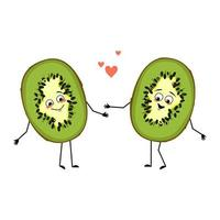 Cute kiwi character with love emotions, smile face, arms and legs vector