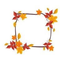 Square frame with orange and yellow maple leaves vector