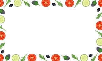 Vegetables frame with tomatoes, cucumbers and leaves vector