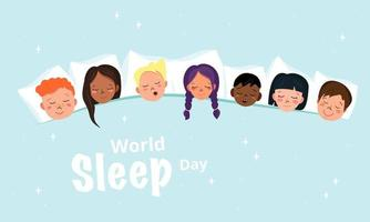 Children sleepover poster in pyjama party style. World sleep day vector
