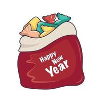 Santa red bag with sweets and gifts. Festive decoration for new year vector