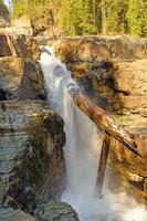 Dramatic Log Jam on a Waterfall photo