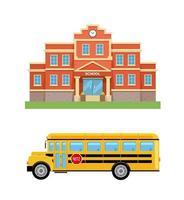 School building, college and school bus. Set vector
