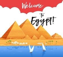 Welcome to Egypt. Flyer, poster. Pyramids, Cairo vector