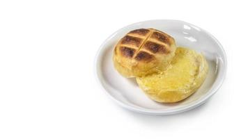 Round bun charcoal grilled serve with crispy bread photo