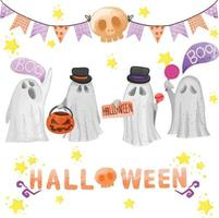 Set of watercolor painted Halloween day, Trick or treat clipart vector