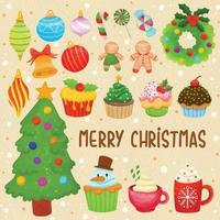 Set of watercolor painted Christmas decoration, Festive clipart. vector