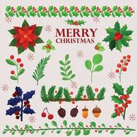 Set of watercolor painted Christmas winter plants vector