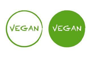 logotipo de comida vegana simple dibujado a mano en círculo verde vector