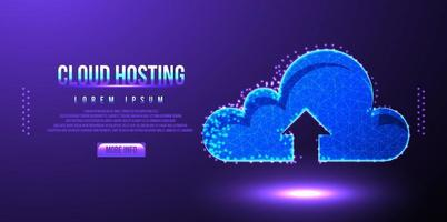 cloud hosting upload low poly wireframe mesh vector