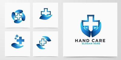 Establecer el logotipo de la cruz médica moderna para el cuidado de las manos vector