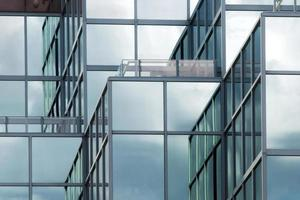 Reflection of modern building glass photo