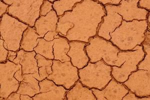 el suelo está seco y agrietado en el desierto foto