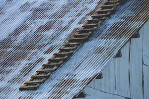 Zinc roof of an old warehouse photo