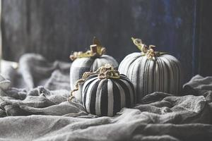 Wool and textile pumpkins for Halloween photo