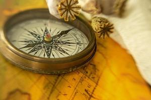 Close-up view of compass and map photo