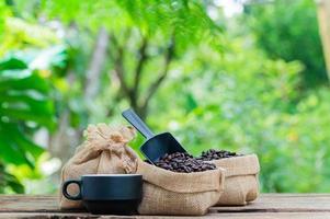 granos de cafe taza de cafe energia foto