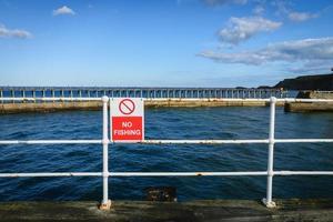 No hay señales de pesca en Whitby Abbey, North Yorkshire, Reino Unido foto