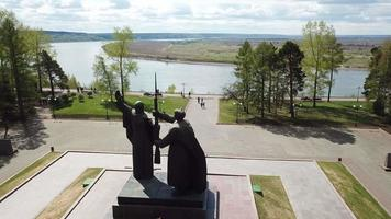 Motherland monument and Eternal flame in Tomsk, Siberia, Russia. video