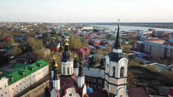 Aerial view of resurrection church in Tomsk city. Siberia, Russia. video
