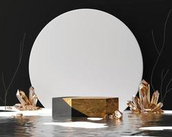 Abstract golden product display stage podium 3d rendering backdrop photo